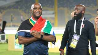 Pitso Mosimane, coach of Al Ahly celebrates their CAF final win. Photo: BackpagePix