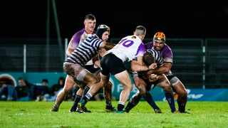 Players competing for the ball during the Varsity Cup game between NWU and UCT at the Fanie Du Toit Sport grounds in Potchefstroom on Monday. Photo: Barco Greeff/Varsity Cup