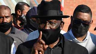 Police Minister Bheki Cele addressing the media after engaging with the Phoenix Community leaders at the local police station. Picture: Elmond Jiyane/GCIS