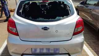 Police had been alerted when a hired Datsun Go covered in bullet holes arrived at the Netcare Montana hospital. Picture: Supplied / SAPS