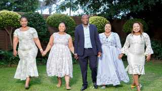 Polygamy wives: Musa Mseleku and his wives (left to right) Mbali MaNgwabe, Thobile MaKhumalo, Nokukhanya MaYeni and first wife Busisiwe MaCele. Picture: Supplied.