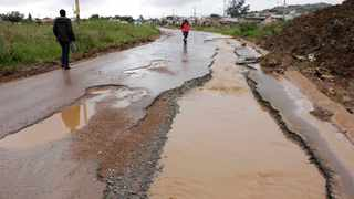 Potholes in Freedom Park South of Johannesburg caused by heavy rains. Picture:Sharon Seretlo