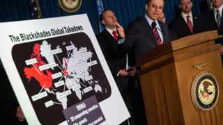 Preet Bharara, US Attorney for the Southern District of New York, speaks at a press conference to announce a massive law enforcement action targeting the creators of the Blackshades software.