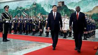 President Cyril Ramaphosa and China's President Xi Jinping at the Great Hall of the People in Beijing. Picture: African News Agency (ANA)