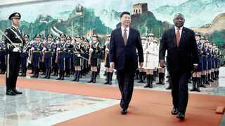 President Cyril Ramaphosa and China's President Xi Jinping at the Great Hall of the People in Beijing. Picture: Reuters