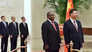 President Cyril Ramaphosa and President Xi Jinping during a Welcome Ceremony at the Great Hall of the People in the People's Republic of China. Picture: Elmond Jiyane/GCIS.