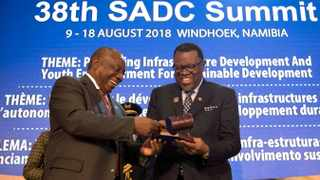 President Cyril Ramaphosa handed the chairmanship of the SADC to his Namibian counterpart Hage Geingob at the regional bloc's 38th summit. Picture: GCIS