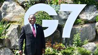 President Cyril Ramaphosa in a bilateral meeting with President Emmanuel Macron of the Republic of France on the sidelines of the G7 Leaders' Summit in Cornwall, United Kingdom. Jairus Mmutle 12/06/2021