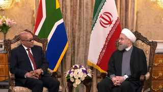 President Jacob Zuma and President Rouhani having a tete-a-tete meeting at Saab Abad during his state visit to the Islamic Republic of Iran. 24/04/2016 Kopano Tlape GCIS