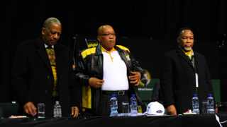 President Jacob Zuma is seen with Mathews Phosa and Kgalema Motlanthe at the opening of the party's national policy conference in Midrand on Tuesday, 26 June 2012. Picture: Werner Beukes/SAPA