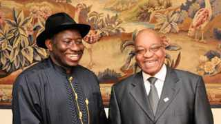 President Jacob Zuma with Ms Maite Nkoane Mashabane holds a Bilateral meeting with Ngierian President Mr Goodluck Jonathan before the start of the Africa France summit held in Nice