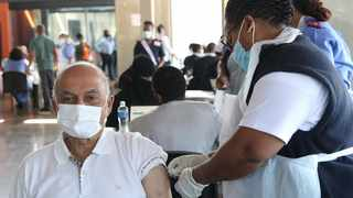 President of South African Hindu Maha Sabha, Ashwin Trikamjee gets his jab at the Moses Mabhida Stadium vaccination site. Picture: Doctor Ngcobo/African News Agency (ANA)