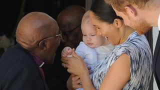 Prince Harry and Meghan Markle, the Duke and Duchess of Sussex, and baby Archie met Desmond Tutu and his wife Leah in Cape Town. Picture: Henk Kruger/African News Agency (ANA)