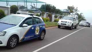 Private security and police after a house robbery in Durban North. Picture: Marshall Security / Twitter
