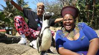 Professional dancer Sherwin Green, left, and uShaka Marine World public relations officer Sibusi Shabalala join African penguin Donatello in a warm invitation to people to visit the city and province. Shelley Kjonstad/African News Agency (ANA)