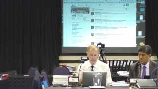 Professor Tim Noakes demonstrates his live Twitter feed to the committee. Picture: Renee Moodie