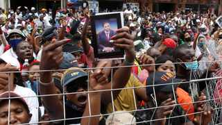 Prophet Shepherd Bushiri's supporters outside the Pretoria Magistrate's Court. Picture: Jacques Naude/African News Agency (ANA)
