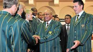 Proteas captain Graeme Smith, right, watches as President Jacob Zuma wishes Dolphins and Proteas batsman Hashim Amla, second from left, well before the national teams departure for the World Cup in Asia. Zuma also wished Smith, who turned 30 on Tuesday, a happy birthday. Photo: Yolande Snyman