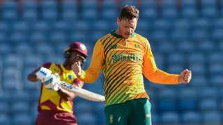 Proteas spinner George Linde celebrates the dismissal of Nicholas Pooran of West Indies during the second T20I between the two teams. Picture: Randy Brooks/AFP