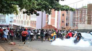 Protesters caused havoc in and around the campus in Durban blocking the roads and vandalizing property before they were dispersed by policePicture: Doctor Ngcobo/African News Agency(ANA)