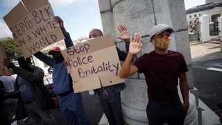 Protesters demonstrate against the death in Minneapolis police custody of George Floyd and Collins Khoza in Cape Town. Picture: Reuters