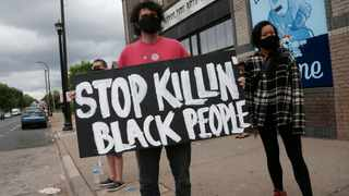Protesters gather near the site of the death of George Floyd, who died in police custody on Monday night in Minneapolis. Picture: Jim Mone/AP