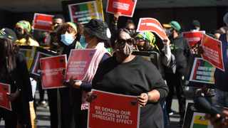 Protesting African National Congress employees picket outside the party's headquarters Luthuli House. Picture: Itumeleng English/African News Agency (ANA)
