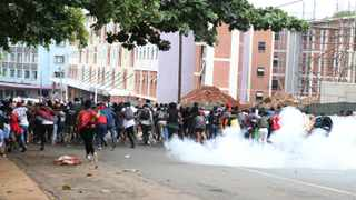 Protesting Durban University of Technology students caused havoc in and around the campus in Durban on Wednesday, blocking roads and vandalising property, before being dispersed by the police. Picture: Doctor Ngcobo/African News Agency (ANA)