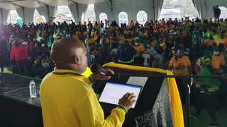 Provincial chairperson of the ANC in KZN Sihle Zikalala speaking to supporters at the party's manifesto launch in Mtubatuba, north-eastern Kwazulu-Natal on Saturday. Picture: Jehran Naidoo
