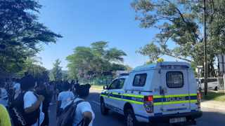 Public order police officers descended on the Elangeni TVET college in Pinetown on Friday where students protested over the lack of resources at the institution and for NSFAS funding. Picture: Anelisa Kubheka.