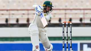 Quinton de Kock of South Africa hits 4 during day 2 of the 1st Test against the West Indies. Photo: Randy Brooks/AFP