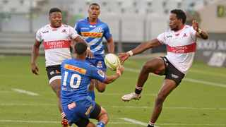 Rabz Maxwane of the Lions and the Stormers' Abner van Reenen compete for the ball during their Preparation Series match. Picture: Ryan Wilkisky BackpagePix