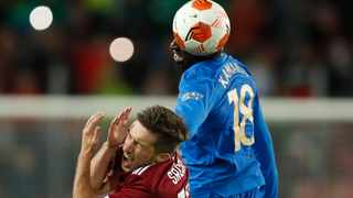 Rangers' Glen Kamara is shown a red card by the referee after this incident with Sparta Prague's Michal Sacek. Picture: David W Cerny/Reuters