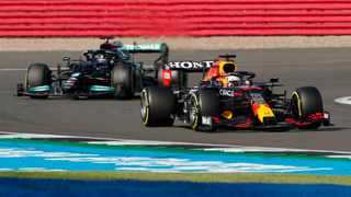 Red Bull's Max Verstappen ahead of Mercedes' Lewis Hamilton during sprint qualifying. Photo: Andrew Couldridge