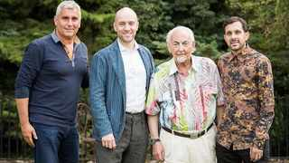 Renowned magician and newly appointed Member of the Order of the British Empire, David Berglas, with well-known magicians Marvin Berglas, Derren Brown and Dynamo. Photo: Supplied