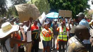 Residents of Letlhabile near Brits took to the streets demanding the resignation of the Letlhabile Community Radio station manager and the board of directors. PHOTO: Molaole Montsho/ANA