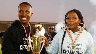 Royal AM FC chairman Andile Mpisane with his mother, club owner Shauwn Mkhize. Photo: Steve Haag/BackpagePix