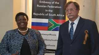 Russia's Ambassador to South Africa Ilya Rogachev with a former SA ambassador to Moscow, Nomasanto Mary Sibanda-Thusi. Picture: Supplied