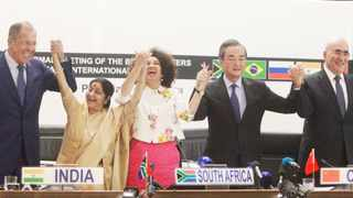 Russian Foreign Minister Sergei Lavrov, Indian Foreign Minister Sushma Swaraj, South African Minister of International Relations and Co-operation Lindiwe Sisulu, China's Foreign Minister Wang Yi and Brazil's Deputy Minister of Foreign Affairs, Marcos Galvao, at a media briefing following the BRICS Ministerial Meeting held at the OR Tambo building, Pretoria, in June 2018. This year the summit was virtual because of the Covid-19 pandemic. Picture: Jacques Naude/African News Agency (ANA)