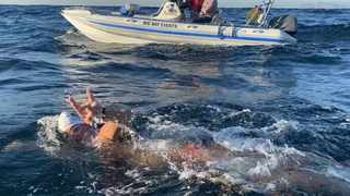 Ryan Stramrood during his record breaking swim across False Bay. Picture: Supplied.