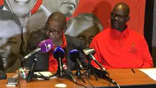 SACP secretary general Blade Nzimade and his deputy Solly Mapaila brief the media after the party's national executive committee meeting in Ekurhuleni. Picture: Getrude Makhafola/ANA