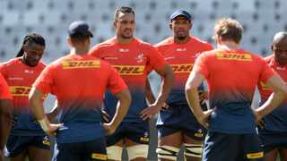 Salmaan Moerat of Stormers chats to his teammates during Stormers Captains Run at Cape Town Stadium on 26 March 2021 ©RyanWilkisky/BackpagePix