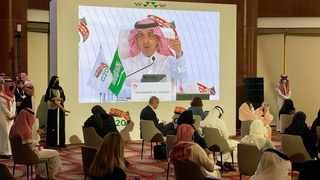 Saudi Arabia's Minister of Finance, Mohammed al-Jadaan speaks during virtual news conference aired live at the media centre of the 15th annual G20 Leaders' Summit in Riyadh. Picture: Nael Shyoukhi/Reuters