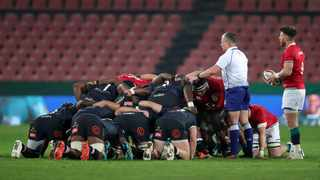 Scrum time during the British and Irish Lions tour match against the Sharks at Ellis Park on Wednesday. Photo: Muzi Ntombela/BackpagePix