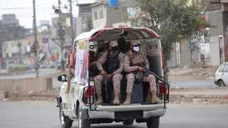 Security personnel patrol after a government announced to lockdown the city for concerns over the spread of the coronavirus in Karachi, Pakistan, Monday, March 23, 2020. Picture: AP Photo/Fareed Khan.