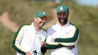 Sergio Garcia of team Europe and Jon Rahm laugh during a practice round prior to the 43rd Ryder Cup at Whistling Straits. Photo: Warren Little/Getty Images via AFP