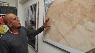 Shadied Ajam points to a map in District Six. Picture: Bheki Radebe/African News Agency (ANA) Archives