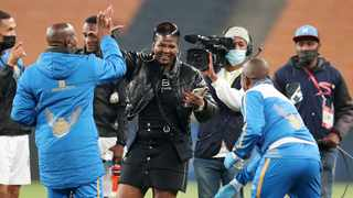 Shauwn Mkhize celebrates with Royal AM players after they beat Kaizer Chiefs in the league. Picture: Muzi Ntombela/BackpagePix
