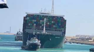 Ship Ever Given, one of the world's largest container ships, is seen after it was fully floated in Suez Canal. Picture: Reuters
