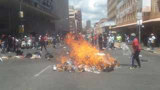 Shops close as students protest over registration-related issues in Braamfontein. Picture: Itumeleng English African News Agency (ANA)